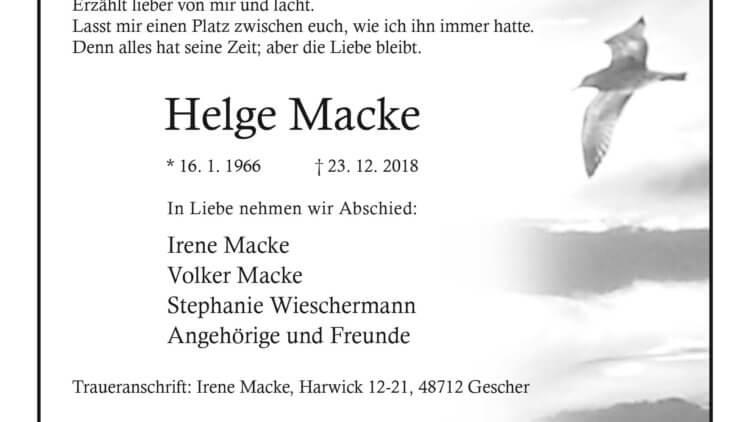 Helge Macke † 23. 12. 2018