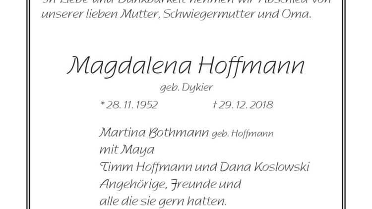 Magdalena Hoffmann † 29. 12. 2018