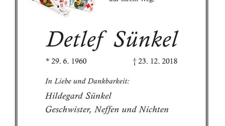 Detlef Sünkel † 23. 12. 2018