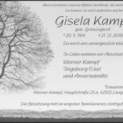 Gisela Kampf † 21. 12. 2018