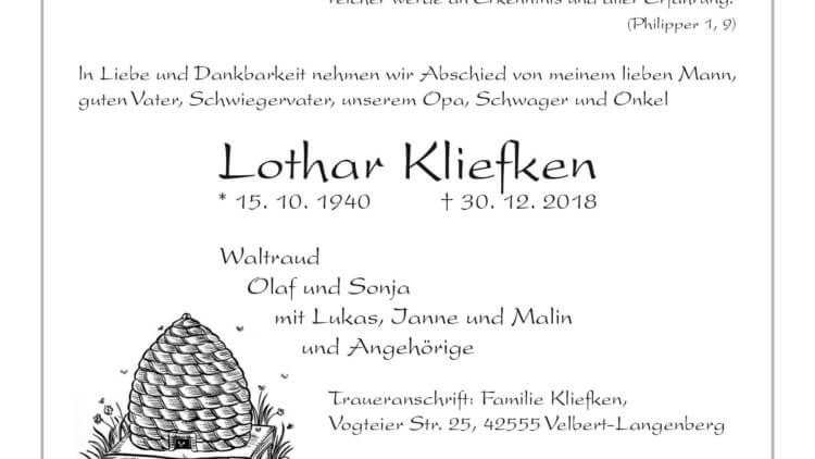 Lothar Kliefken † 30. 12. 2018