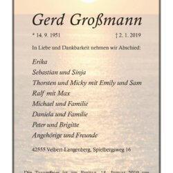Gerd Großmann † 2. 1. 2019