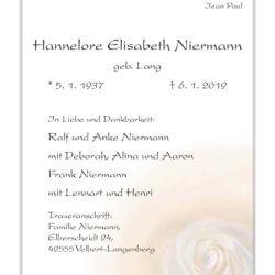 Hannelore Elisabeth Niermann † 6. 1. 2019
