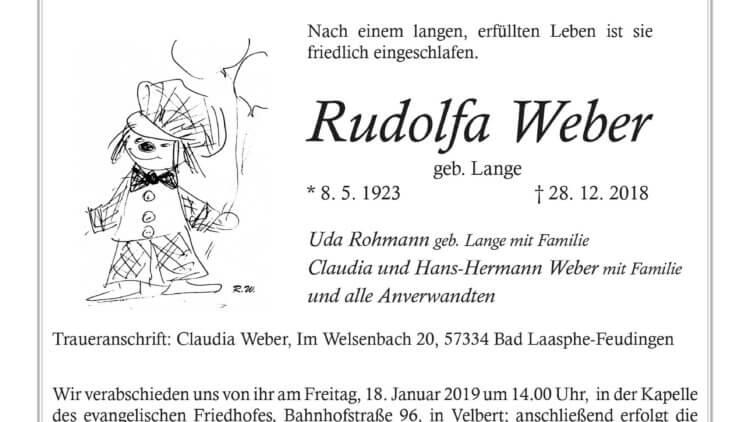 Rudolfa Weber † 28. 12. 2018