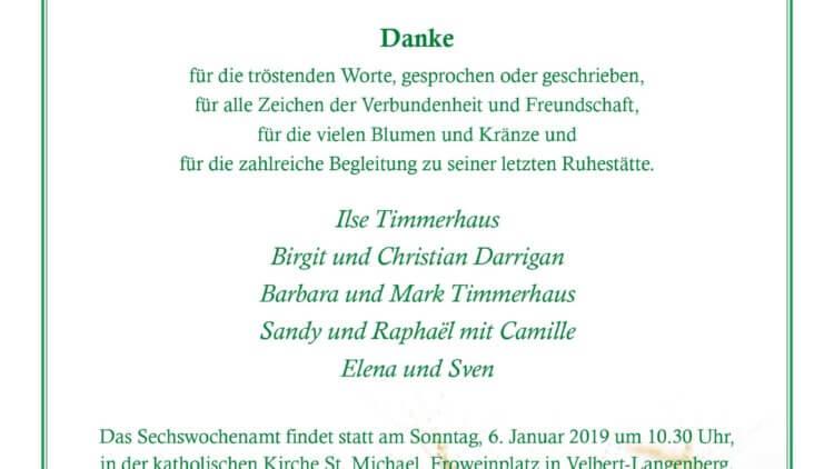 Hermann Heinrich Timmerhaus -Danksagung-