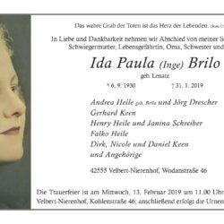 Ida Paula Brilo † 31. 1. 2019