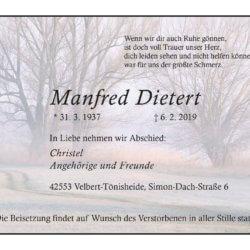 Manfred Dietert † 6. 2. 2019