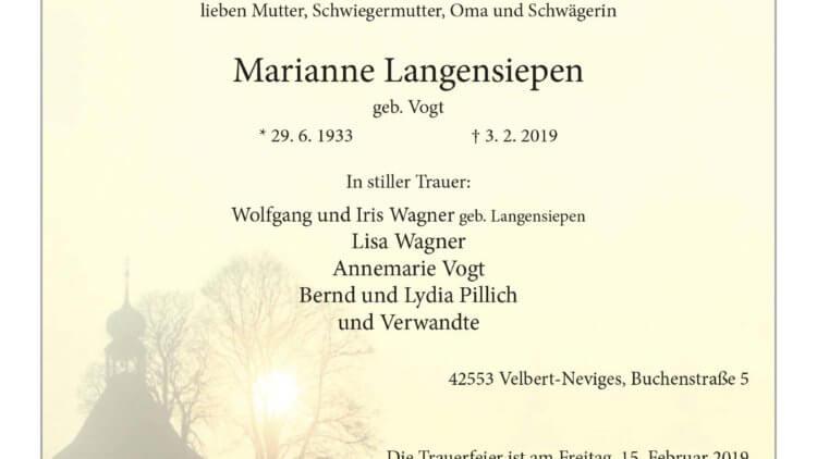 Marianne Langensiepen † 3. 2. 2019
