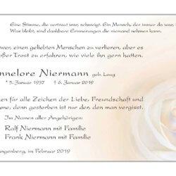 Hannelore Niermann -Danksagung-
