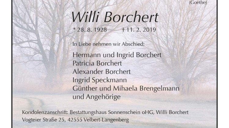 Willi Borchert † 11. 2. 2019