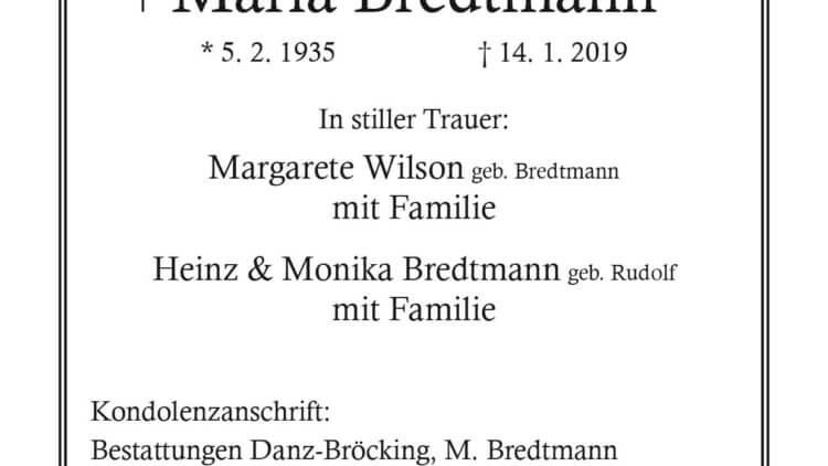 Maria Bredtmann † 14. 1. 2019