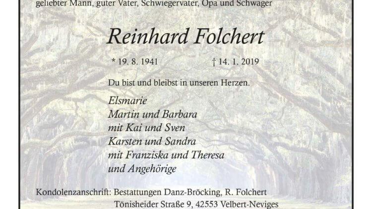 Reinhold Folchert † 14. 1. 2019