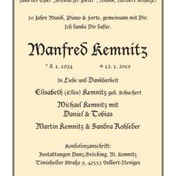 Manfred Kemnitz † 12. 1. 2019