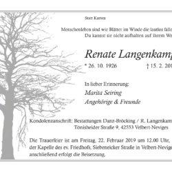 Renate Langenkamp † 15. 2. 2019