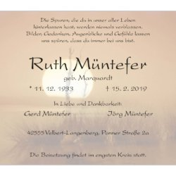Ruth Müntefer † 15. 2. 2019