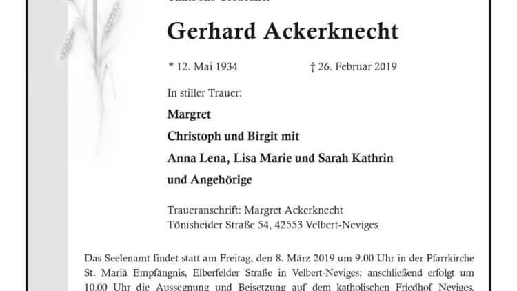 Gerhard Ackerknecht † 26. 2. 2019