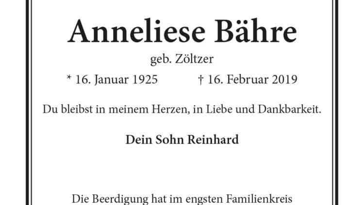 Anneliese Bähre † 16. 2. 2019