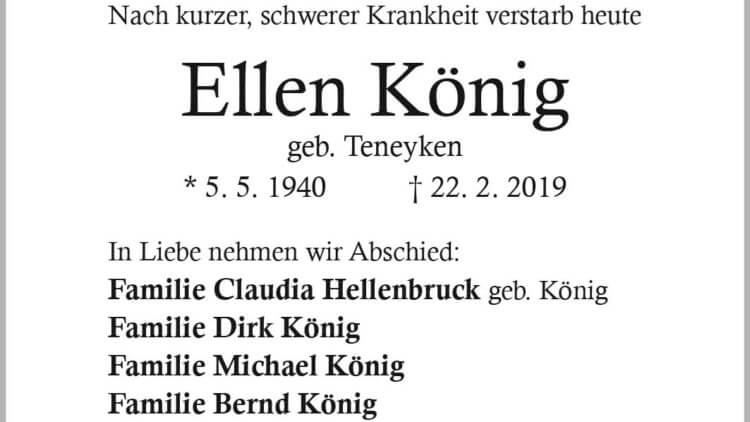 Ellen König † 22. 2. 2019