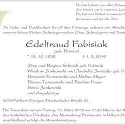 Edeltraud Fabisiak †1. 3. 2019