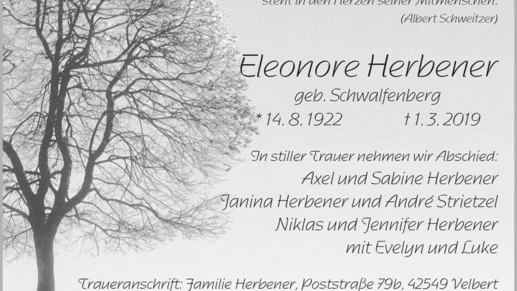 Eleonore Herbener † 1. 3. 2019
