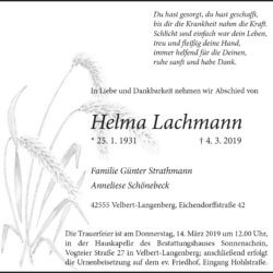 Helma Lachmann † 4. 3. 2019