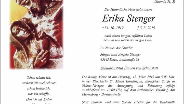 Erika Stenger †3. 3. 2019