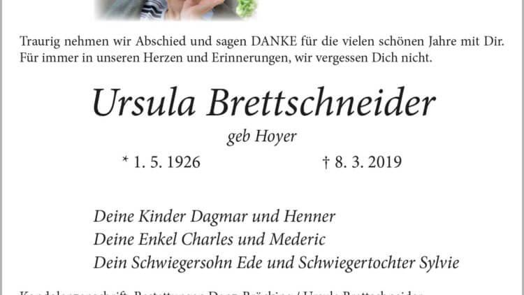 Ursula Brettschneider † 8. 3. 2019
