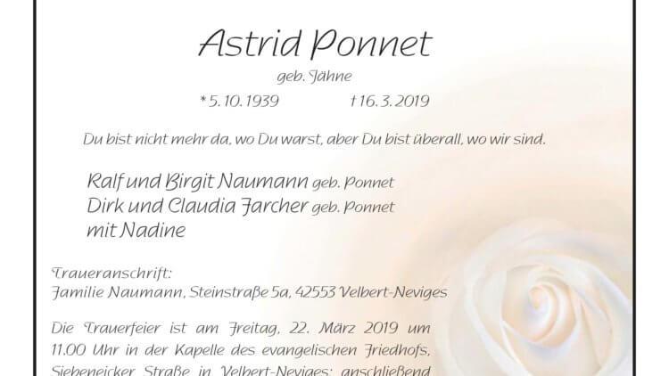 Astrid Ponnet † 16. 3. 2019