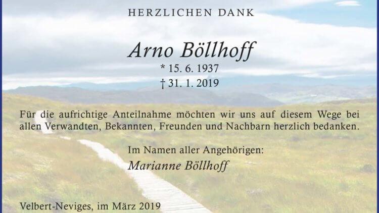 Arno Böllhoff -Danksagung-