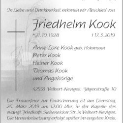 Friedhelm Kook † 17. 3. 2019