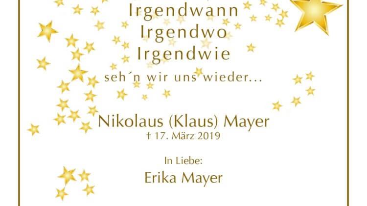 Nikolaus (Klaus) Mayer † 17. 3. 2019