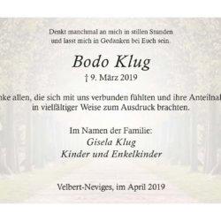 Bodo Klug -Danksagung-