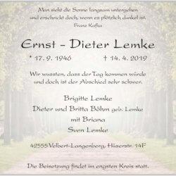 Ernst-Dieter Lemke †14. 4. 2019