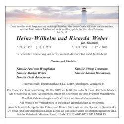 Eheleute Weber † 17. 4. 2019