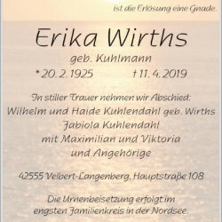 Erika Wirths † 11. 4. 2019