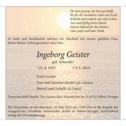 Ingeborg Geister † 9. 5. 2019