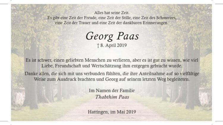 Georg Paas -Danksagung-