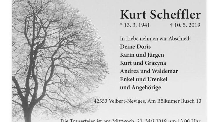 Kurt Scheffler † 10. 5. 2019