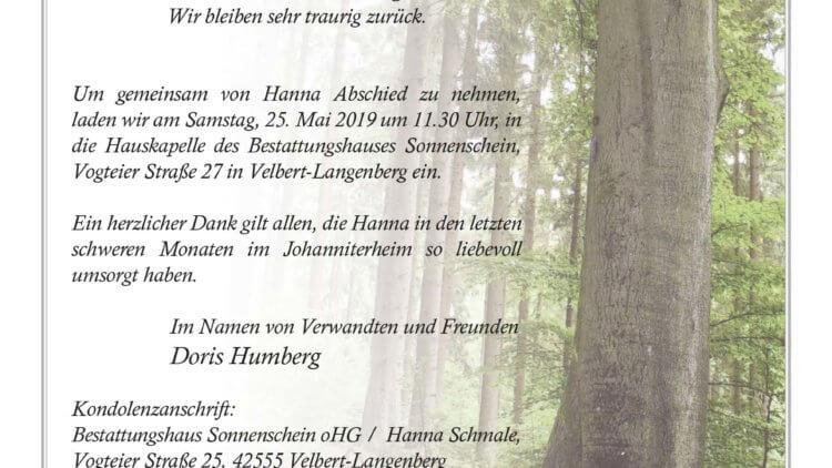Hanna Schmale † 14. 5. 2019