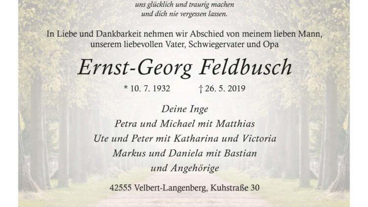 Ernst-Georg Feldbusch † 26. 5. 2019