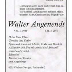 Walter Angenendt † 31. 5. 2019