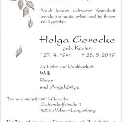 Helga Gerecke † 28. 5. 2019