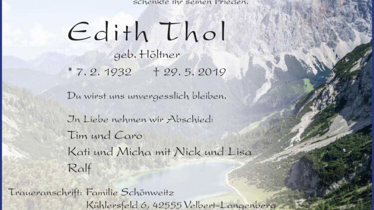 Edith Thol †29. 5. 2019