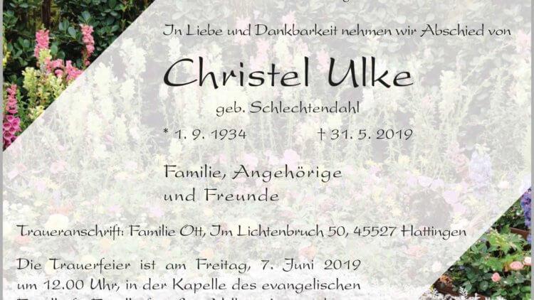 Christel Ulke † 31. 5. 2019