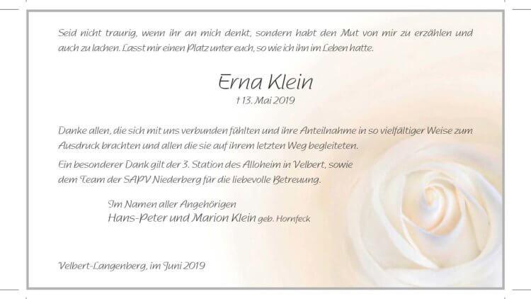 Erna Klein -Danksagung-