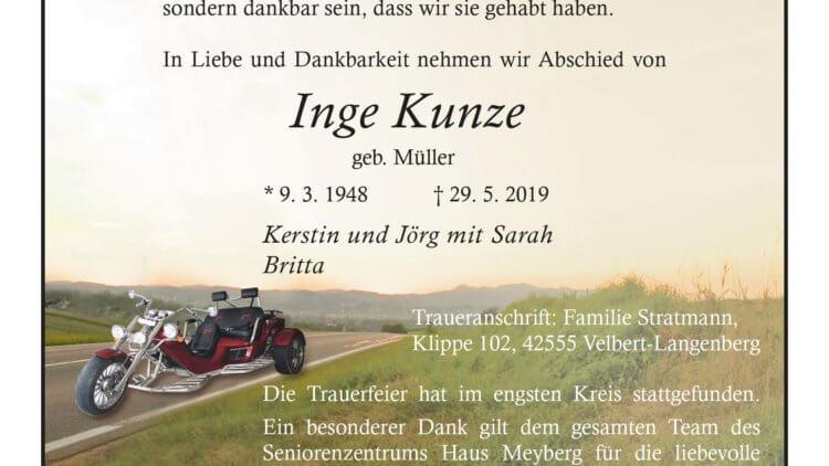 Inge Kunze † 29. 5. 2019