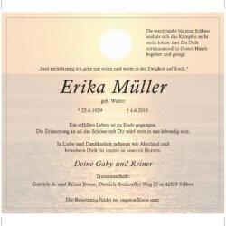 Erika Müller † 4. 6. 2019