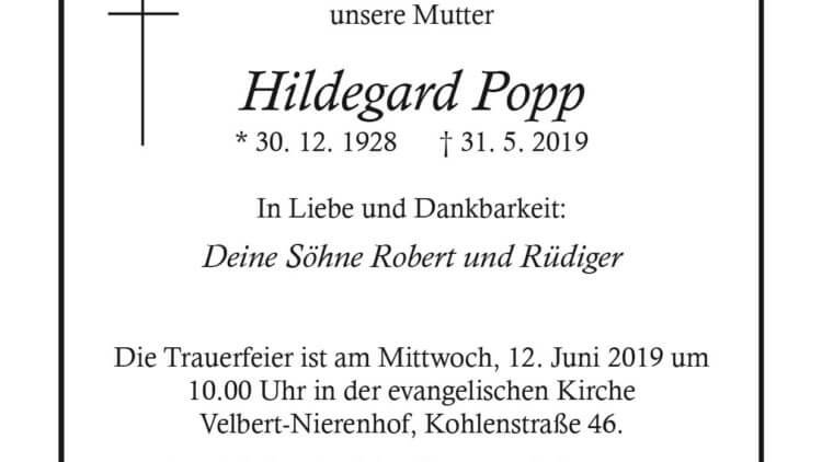 Hildegard Popp † 31. 5. 2019