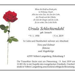 Ursula Schlechtendahl † 5. 6. 2019