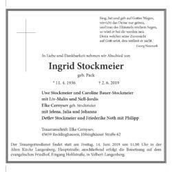 Ingrid Stockmeier † 2. 6. 2019